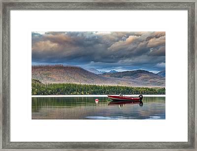 Boat On Lake Mcdonald Framed Print