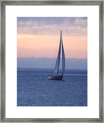 Boat On Lake Michigan Framed Print by Susan Crossman Buscho