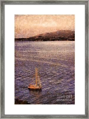 Boat On Ocean At Dusk Framed Print by Pixel Chimp