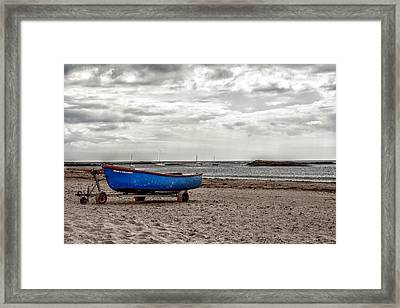 Boat On The Beach At Rhosneigr Anglesey Framed Print by Georgia Fowler