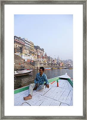 Boat On The River Ganges At Varanasi In India Framed Print by Robert Preston