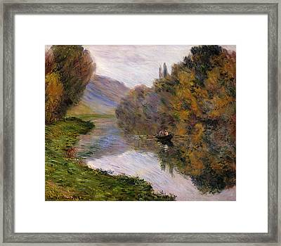 Boat On The Seine Near Jeufosse Framed Print by Claude Monet