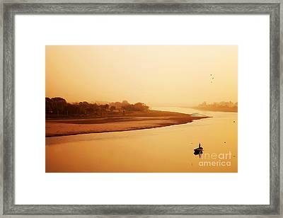 Boat On Yamuna River Framed Print