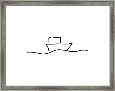 Boat Or Ship On Trip On The Sea Framed Print