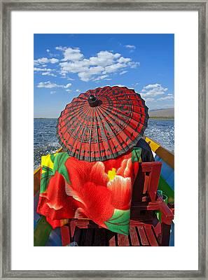 Boat Passanger With Pathein Umbrella Framed Print by Judith Barath