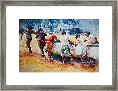 Framed Print featuring the painting Men At Work by Jani Freimann
