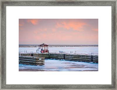 Boat Pier Lake Michigan Framed Print