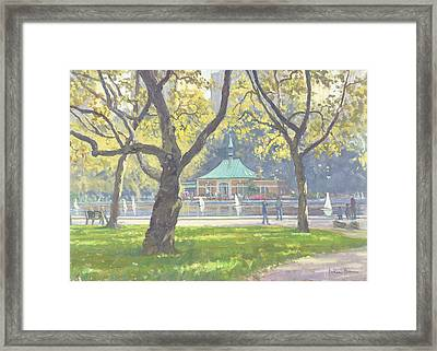 Boat Pond, Central Park Oil On Canvas Framed Print by Julian Barrow