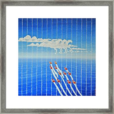 Boat Race Horse Clouds Framed Print