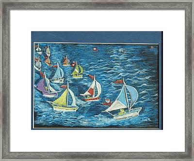 Framed Print featuring the drawing Boat Race/bernie And Joe by Joseph Hawkins