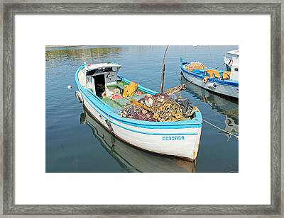 Boat Reflected In Sozopol Harbour Framed Print by Tony Murtagh