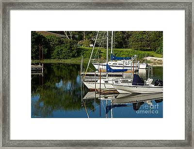 Framed Print featuring the photograph Boat Reflections In Cape Cod Hen Cove by Eleanor Abramson