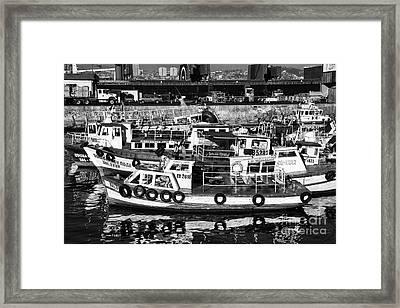 Boat Reflections In Valparaiso Framed Print by John Rizzuto