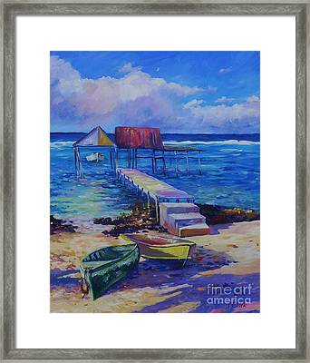 Boat Shed And Boats Framed Print by John Clark