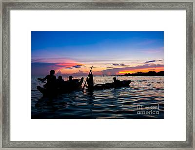 Boat Silhouettes Angkor Cambodia Framed Print by Fototrav Print