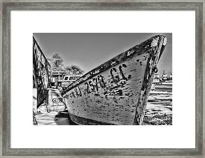 Boat - State Of Decay In Black And White Framed Print by Paul Ward