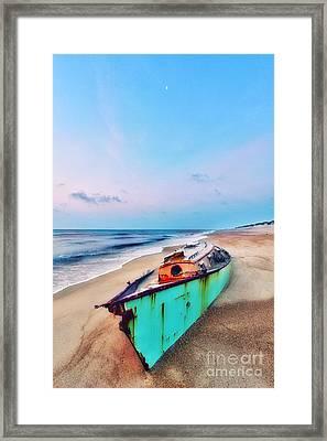 Boat Under Morning Moon Outer Banks I Framed Print by Dan Carmichael