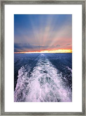 Boat Wake On Georgian Bay  Framed Print