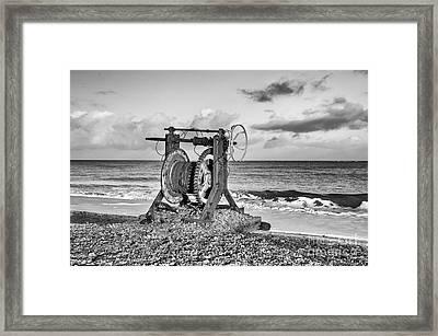 Boat Winch 1 - Mono Framed Print by Steev Stamford