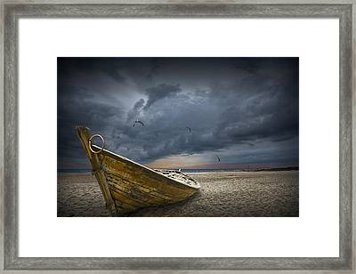 Boat With Gulls On The Beach With Oncoming Storm Framed Print by Randall Nyhof