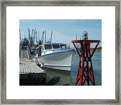 Boat With Light Buoy By Jan Marvin Framed Print