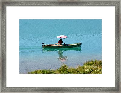 Boat With Umbrella Framed Print