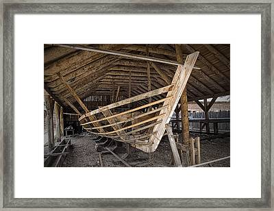 Boat Works In Fort Edmonton Framed Print by Randall Nyhof