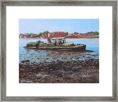Boat Wreck At Bitterne Manor Park Framed Print