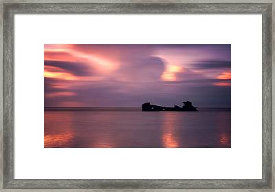 Boat Wreck Framed Print by Mark Leader