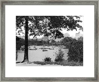 Boaters In Central Park Framed Print by Underwood Archives
