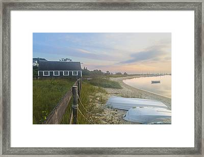 Boathouse At Dawn Framed Print