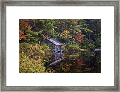 Boathouse Reflection Framed Print by Eric Gendron