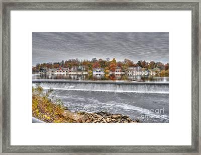 Boathouse Row Across The Dam Framed Print