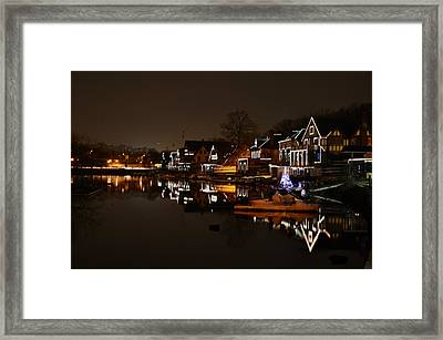 Boathouse Row All Lit Up Framed Print by Bill Cannon