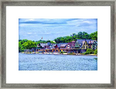 Boathouse Row Along The Schuylkill River Framed Print by Bill Cannon