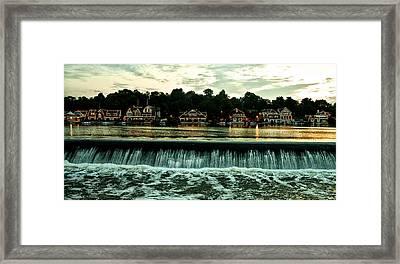 Boathouse Row And Fairmount Dam Framed Print by Bill Cannon