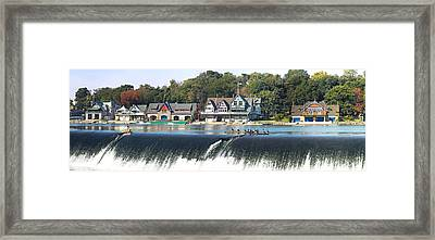 Boathouse Row At The Waterfront Framed Print by Panoramic Images
