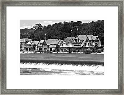 Boathouse Row - Bw Framed Print by Lou Ford