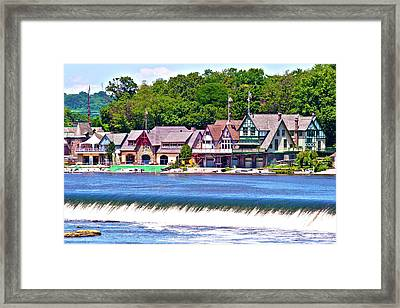 Boathouse Row - Hdr Framed Print by Lou Ford