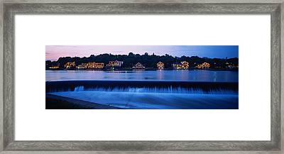 Boathouse Row Lit Up At Dusk Framed Print