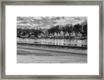 Boathouse Row Philadelphia Pa Bw Framed Print by Susan Candelario