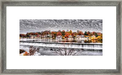 Boathouse Row Under The Clouds Framed Print