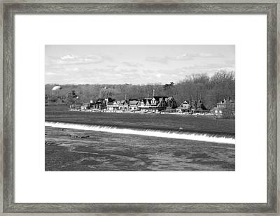 Boathouse Row Winter B/w Framed Print by Jennifer Ancker
