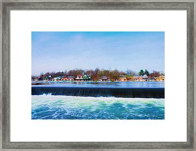 Boathouse Row With The Fairmount Dam Framed Print