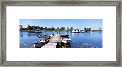 Boathouses In A Lake, Lake Erie, Erie Framed Print