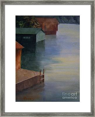 Boathouses Framed Print by Mary Lynne Powers
