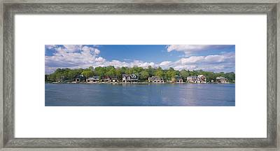 Boathouses Near The River, Schuylkill Framed Print by Panoramic Images