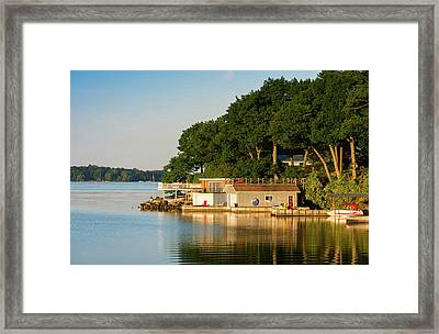 Boathouses On Saint Lawrence River Framed Print