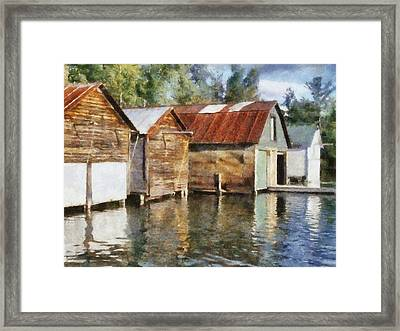 Boathouses On The Torch River Ll Framed Print