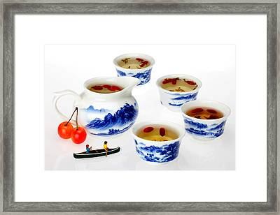 Boating Among China Tea Cups Little People On Food Framed Print